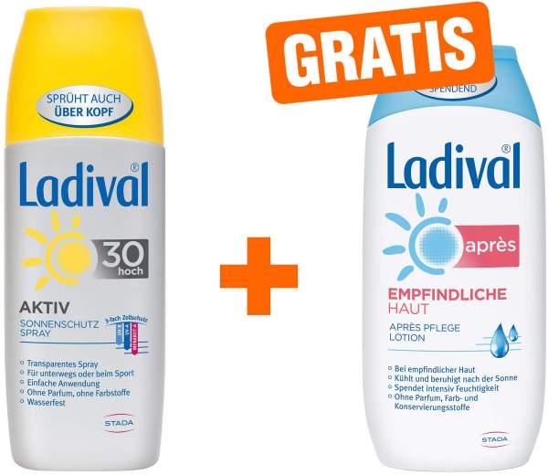 Ladival Aktiv Sonnenschutz Spray LSF 30 150 ml + gratis Empfindliche Haut 200 ml Après Lotion