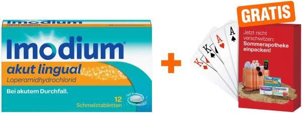 Imodium akut lingual 2 mg 12 Schmelztabletten + gratis Kartenspiel