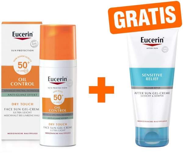 Eucerin Sun Oil Control 50+ Anti Glanz Effekt Gesicht 50 ml + gratis Sensitive After Sun 50 ml
