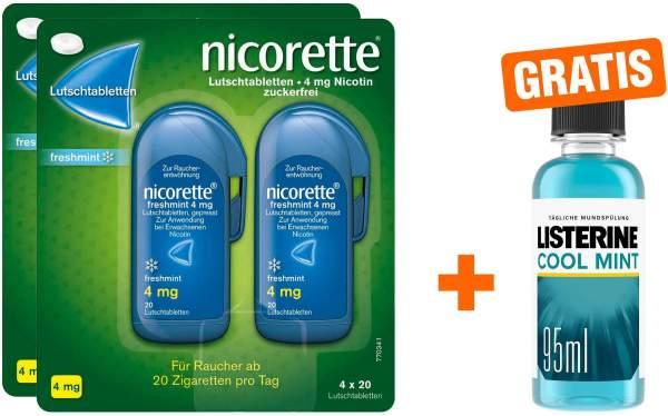 Nicorette Freshmint 4 mg 2 x 80 Lutschtabletten + gratis Listerine Cool Mint 95 ml