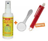 Stechmücken u.Zeckenschutz Spray + gratis Zeckenzange mit Lupe