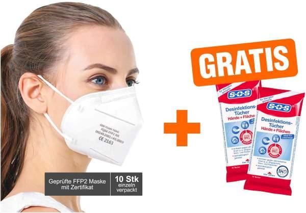 Atemschutzmaske FQ66 FFP2 10 Stück + gratis SOS Desinfektionstücher 20 Stück