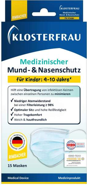 Klosterfrau Medizinische Mund-Nasen-Schutzmaske Kinder 15 Stück
