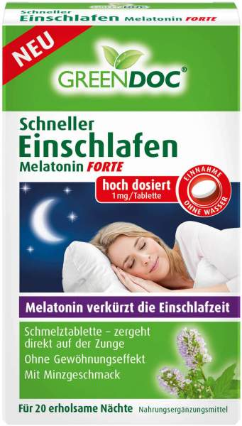 Greendoc Schneller Einschlafen Melatonin Forte 20 Stück