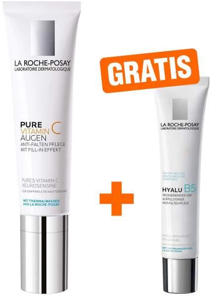 La Roche Posay Pure Vitamin C Augen 15 ml Creme + gratis Hyalu B5 Pflege 7,5 ml