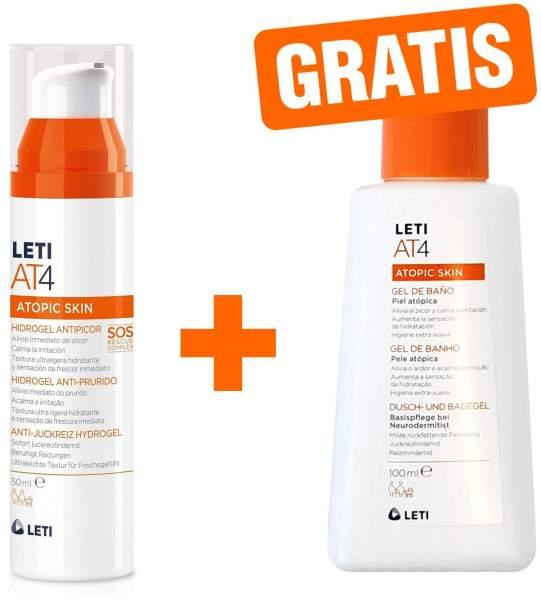 Leti AT4 Anti Juckreiz Hydrogel 50 ml + gratis AT4 Dusch- und Badegel 100 ml