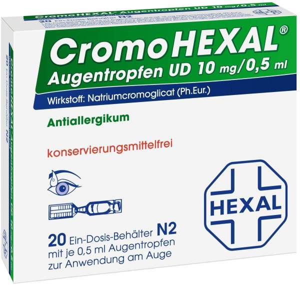 Cromohexal Augentropfen UD 10 mg pro 0,5 ml 20 Einzeldosenpipetten