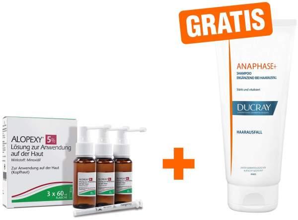 Alopexy 5 % Lösung zur Anwendung auf der Haut 3 x 60 ml + gratis Ducray Anaphase+ Shampoo 100 ml