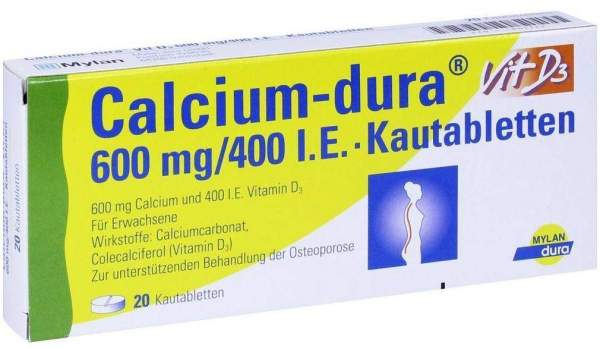 Calcium Dura Vit D3 600 mg - 400 I.E. 20 Kautabletten