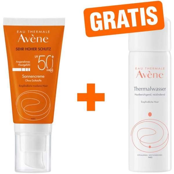 Avene Sunsitive Sonnencreme SPF 50+ ohne Duftstoffe 50 ml + gratis Thermalwasser Spray 50 ml