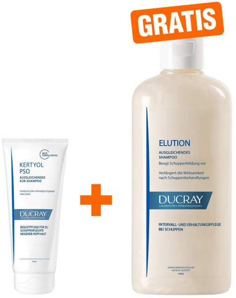 Ducray Kertyol PSO Kur Shampoo 125 ml + gratis Elution ausgleichendes Shampoo 200 ml