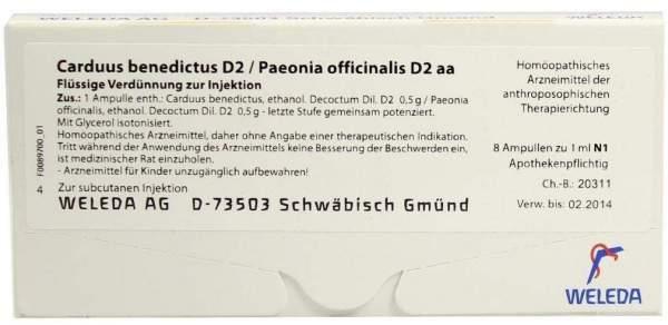 Carduus benedictus D 2 Paeonia officinalis D 2 aa Weleda 8 x 1 ml Ampullen