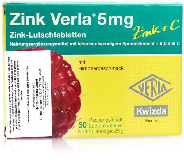 Zink Verla 5 mg Lutschtabletten Himbeere 50 Stück