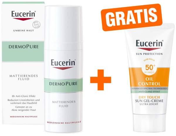 Eucerin DermoPure 50 ml mattierendes Fluid + gratis Sun Gel-Creme 50+ 20 ml Gesicht
