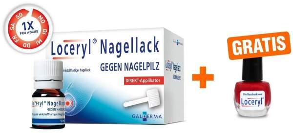 Loceryl Nagellack gegen Nagelpilz 5 ml mit Direkt - Applikator + gratis Nagellack rot