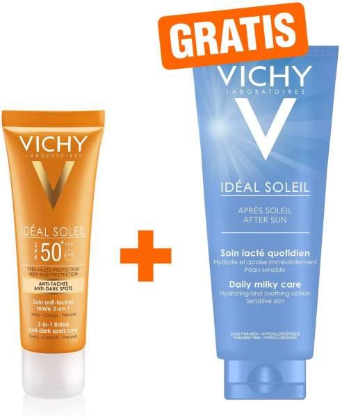 Vichy Ideal Soleil Anti Pigmentflecken Creme LSF 50+ 50 ml Creme + gratis Après Milch 100 ml