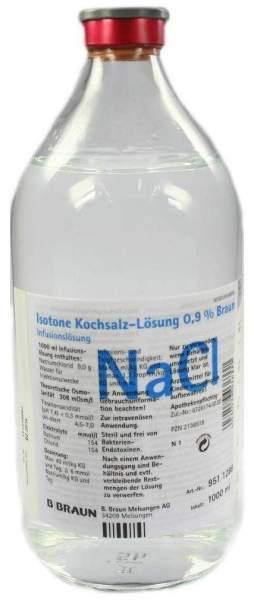 Kochsalzlösung 0,9% Glasflasche 1000 ml Infusionslösung