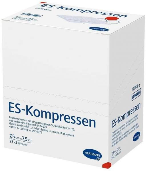 Es-Kompressen Steril 7,5 X 7,5 cm 8fach 25 X 2 Stück