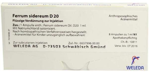 Ferrum sidereum D 20 Weleda 8 x 1 ml Ampullen