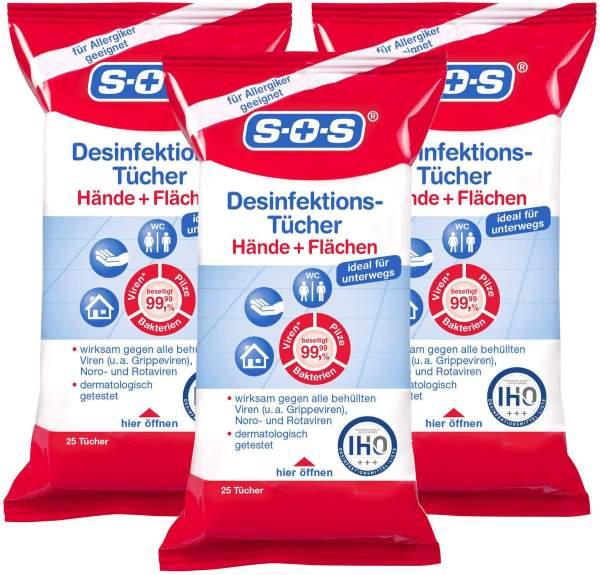 SOS Desinfektions-Tücher 3 x 10 Stück