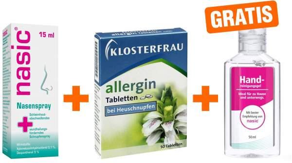 Nasic Nasenspray 15 ml + Klosterfrau Allergin Tabletten 50 Stück + gratis Handreinigungsgel 50 ml