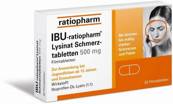 IBU-ratiopharm Lysinat Schmerztabletten 500 mg 20 Filmtabletten