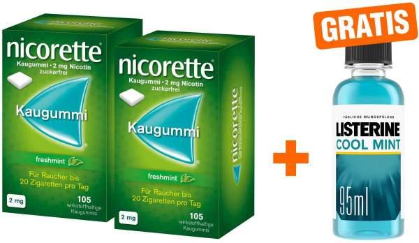 Nicorette 2 mg Freshmint Kaugummi 2 x 105 Kaugummis + gratis Listerine Cool Mint 95 ml