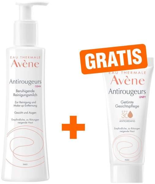 Avene Antirougeurs Clean beruhigende Reinigungsmilch 200 ml + gratis UNIFY getönte Gesichtspflege SPF30 15 ml