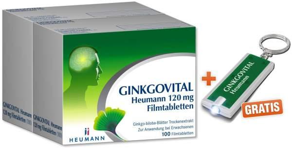 Ginkgovital Heumann 120 mg 200 Filmtabletten + gratis LED-Schlüsselanhänger