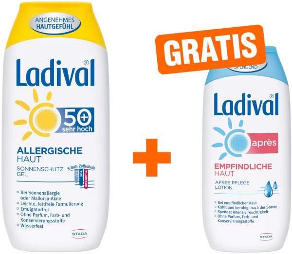Ladival Sonnenschutz Gel Allergische Haut LSF 50+ 200 ml + gratis Empfindliche Haut 200 ml Après Lotion