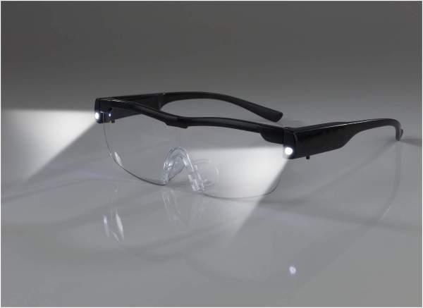 Easymaxx Vergrößerungsbrille mit LED-Licht, schwarz, inkl. Aufbewahrungsbeutel