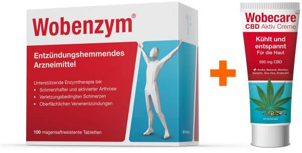 Wobenzym 100 magensaftresistente Tabletten + Wobecare CBD Aktiv Creme 100 ml