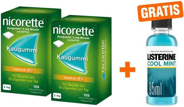 Nicorette 2 mg Freshfruit Kaugummi 2 x 105 Stück + gratis Listerine Cool Mint 95 ml