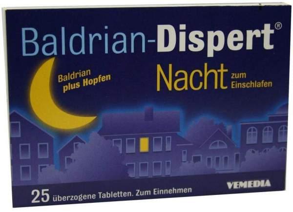 Baldrian-Dispert Nacht zum Einschlafen 25 überzogene Tabletten