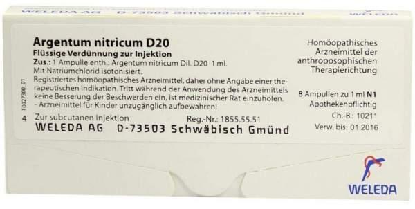 Argentum nitricum D 20 Weleda 8 x 1 ml Ampullen