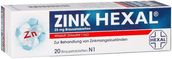 Zink Hexal 25 mg 20 Brausetabletten