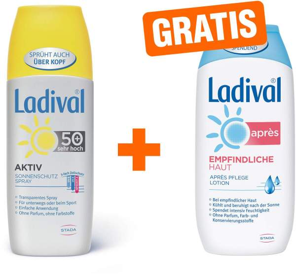 Ladival Aktiv Sonnenschutz 150 ml Spray LSF 50+ + gratis Empfindliche Haut 200 ml Après Lotion