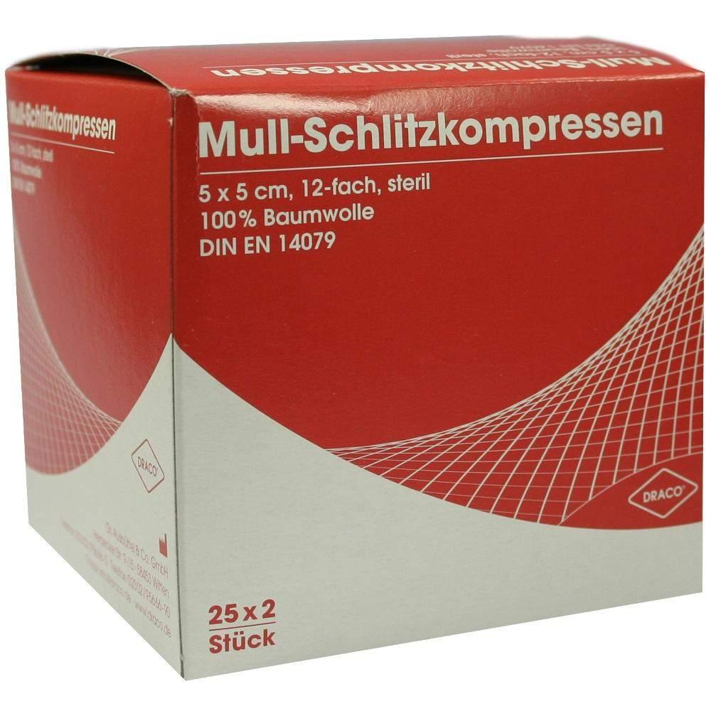Schlitzkompressen Mull 5x5cm 12fach Steril