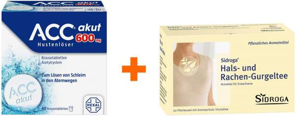 ACC akut 600 mg Hustenlöser 40 Brausetabletten + Sidroga Hals-Rachen-Gurgeltee 20 Filterbeutel